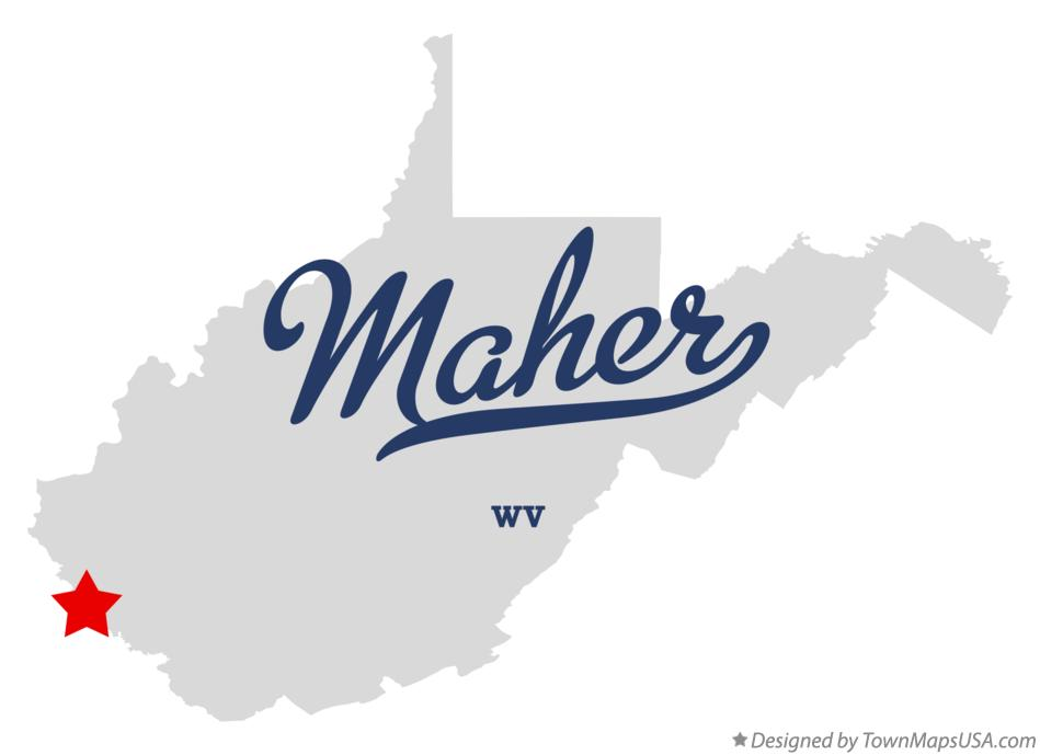 Map of Maher West Virginia WV