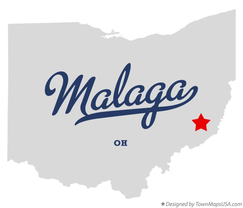 Map of Malaga Ohio OH