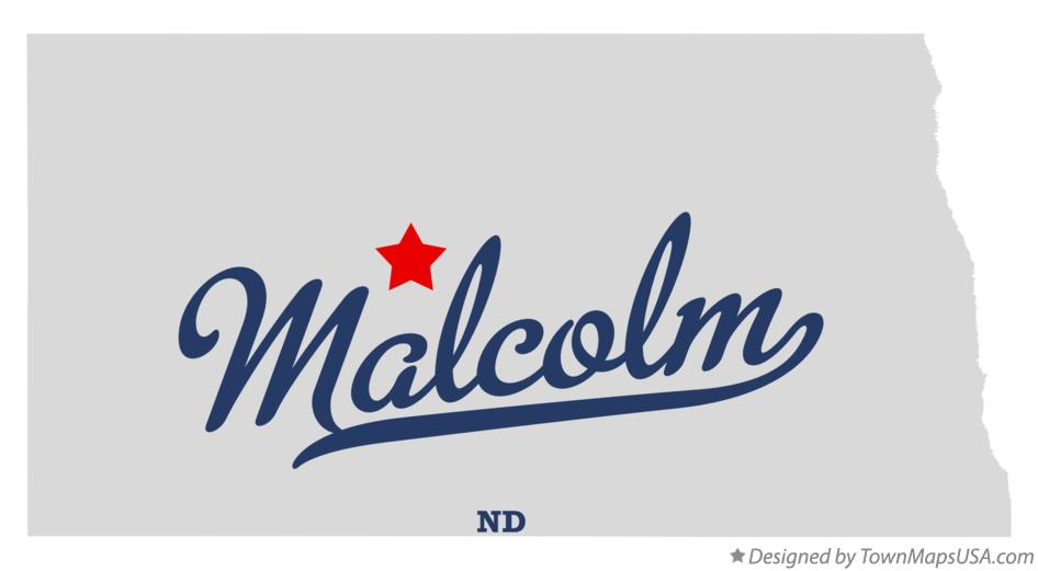 Map of Malcolm North Dakota ND