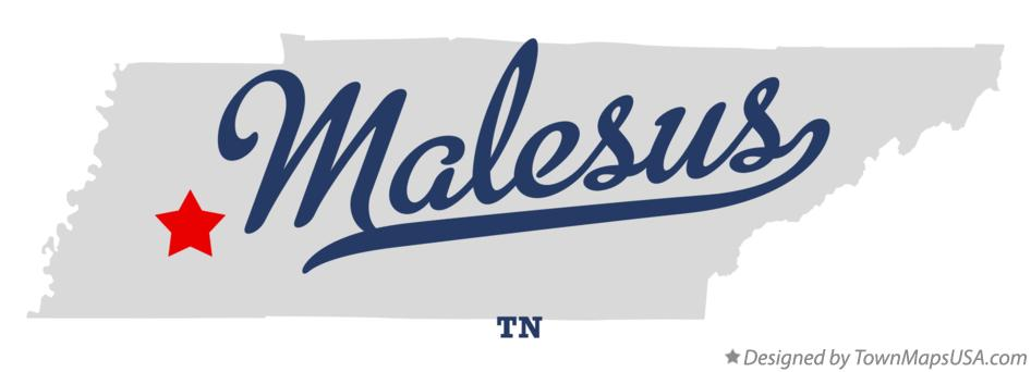 Map of Malesus Tennessee TN