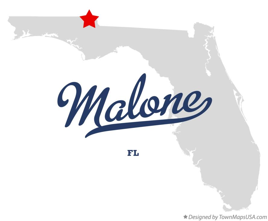 Map of Malone Florida FL