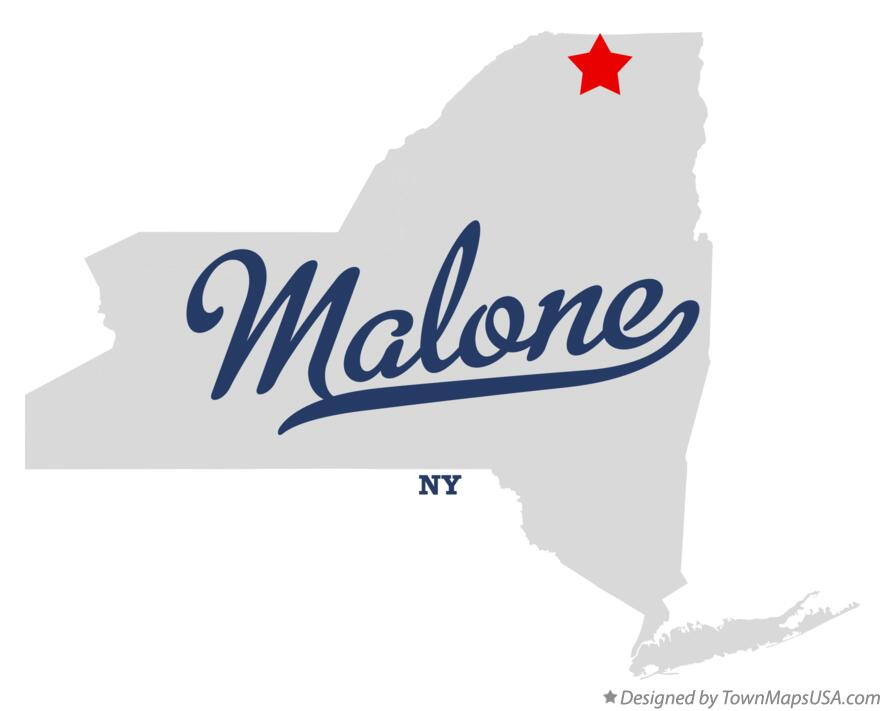 Map of Malone New York NY