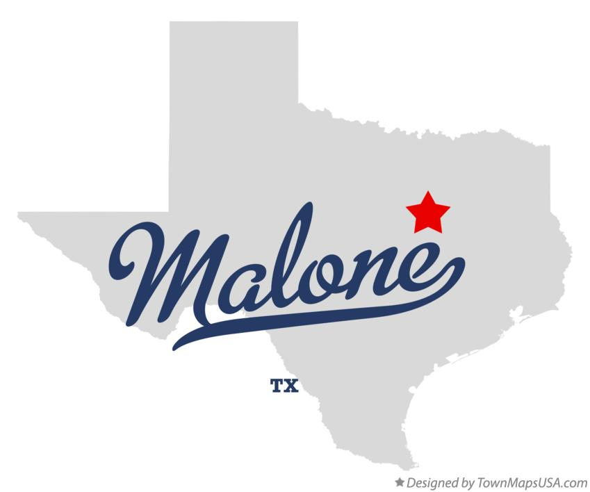 Map of Malone Texas TX