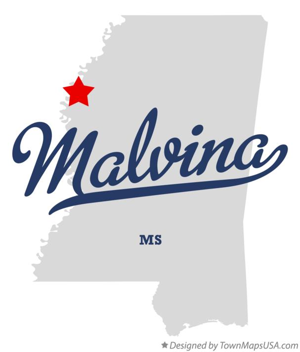 Map of Malvina Mississippi MS