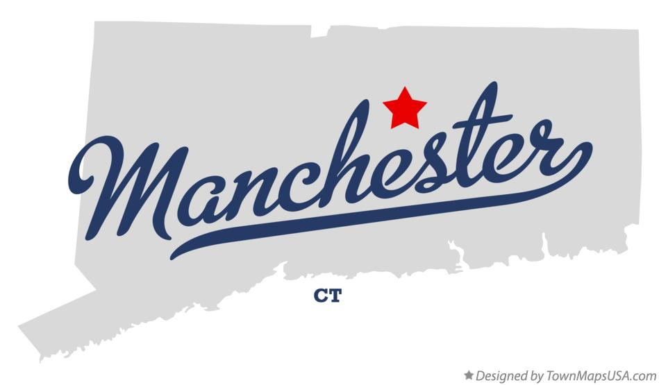 Map of Manchester Connecticut CT