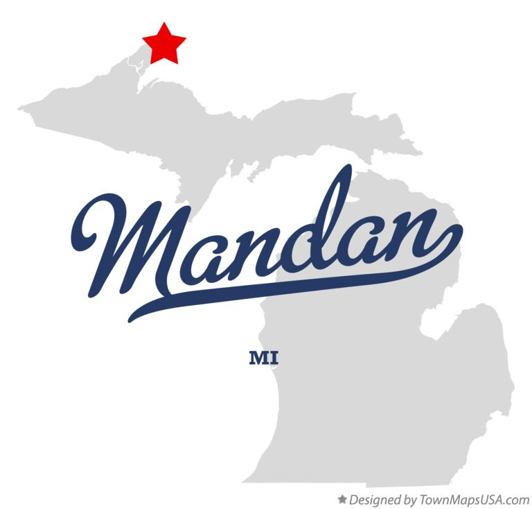 Map of Mandan Michigan MI