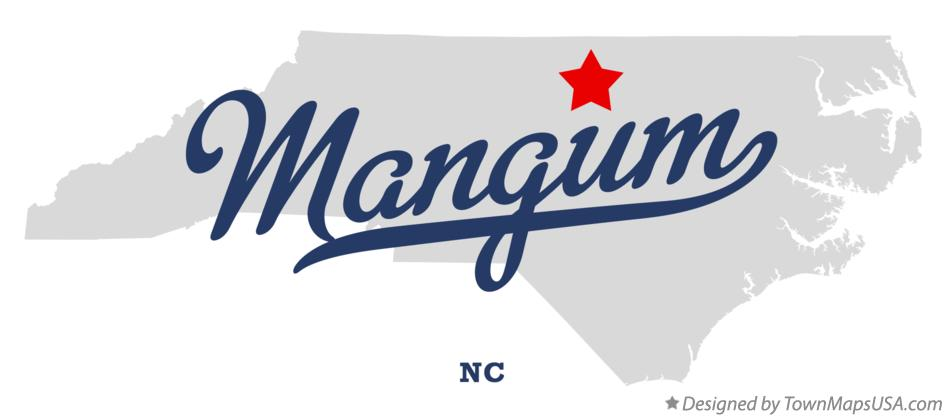 Map of Mangum North Carolina NC