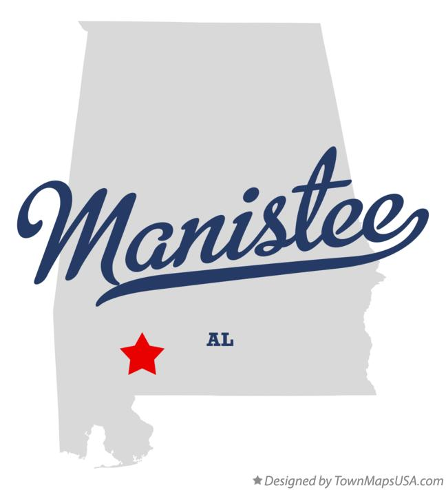 Map of Manistee Alabama AL