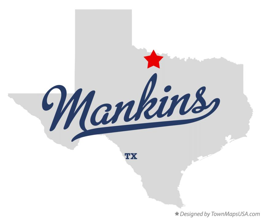 Map of Mankins Texas TX
