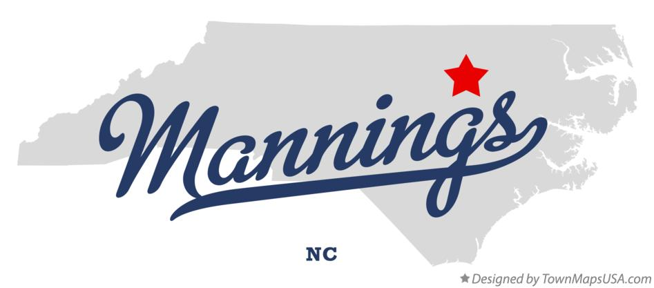 Map of Mannings North Carolina NC