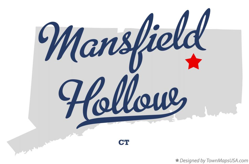 Map of Mansfield Hollow Connecticut CT