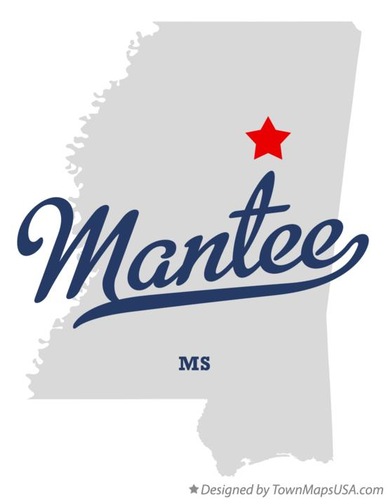 Map of Mantee Mississippi MS