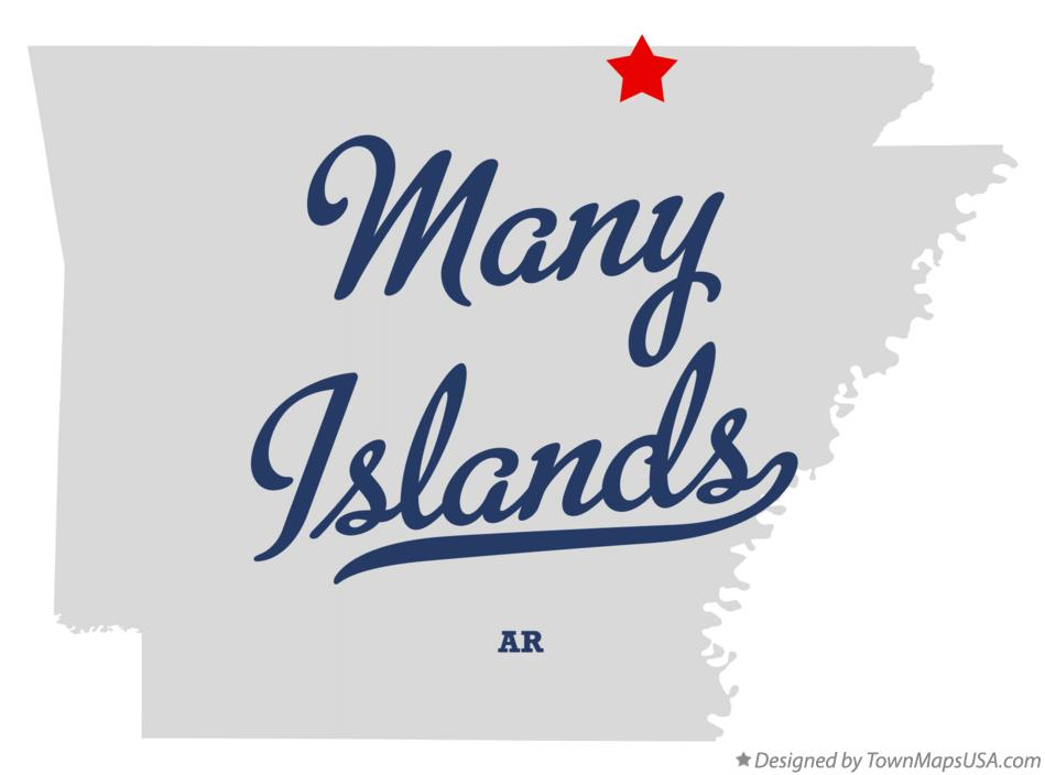 Map of Many Islands Arkansas AR
