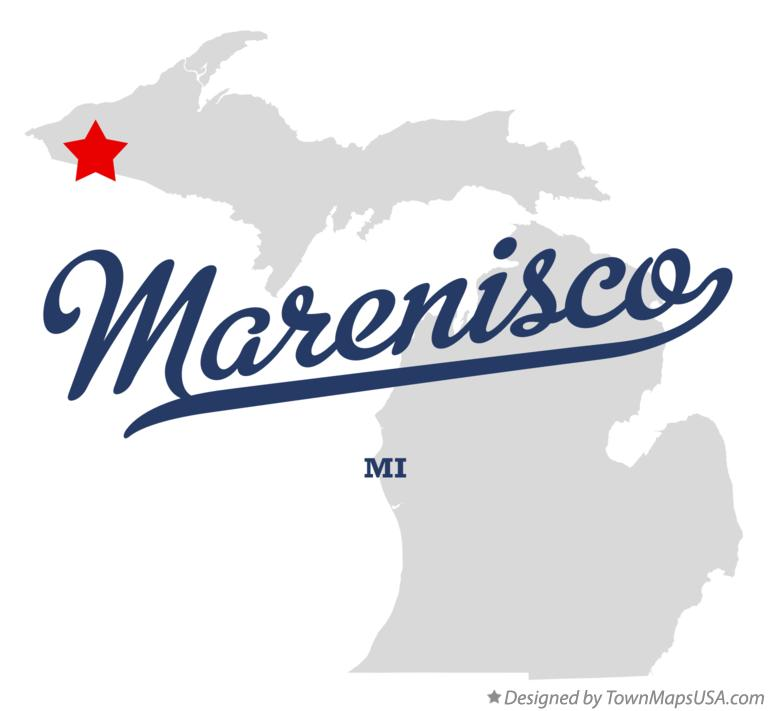 Map of Marenisco Michigan MI