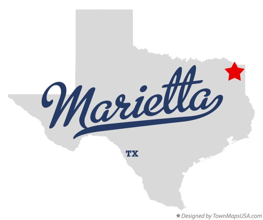 Map of Marietta Texas TX