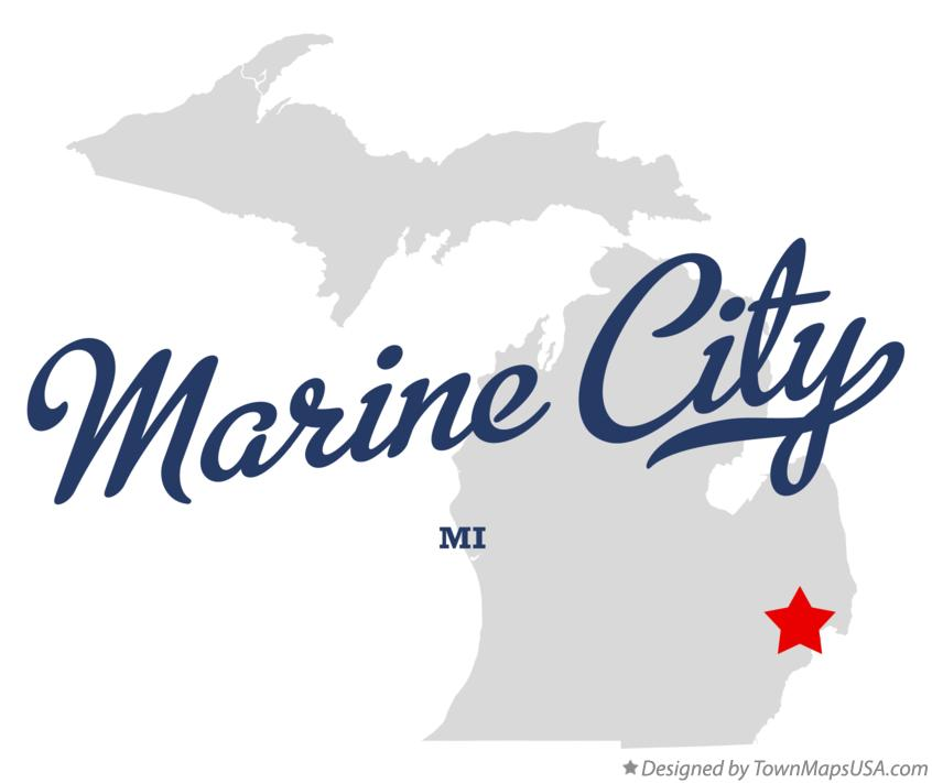 Map of Marine City Michigan MI
