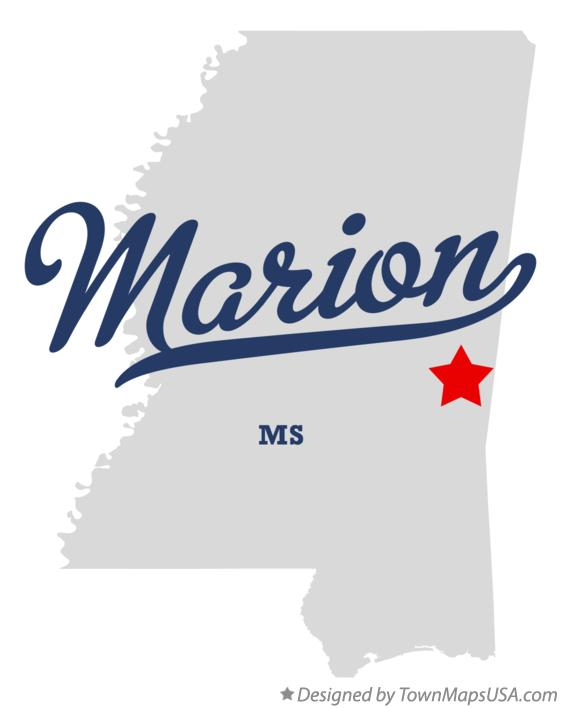 Map of Marion Mississippi MS