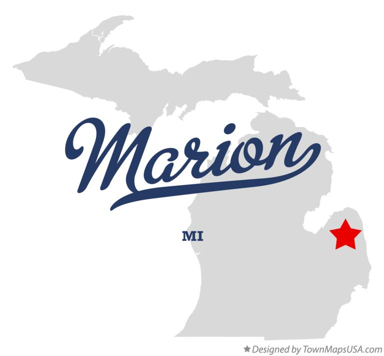 Map of Marion Michigan MI