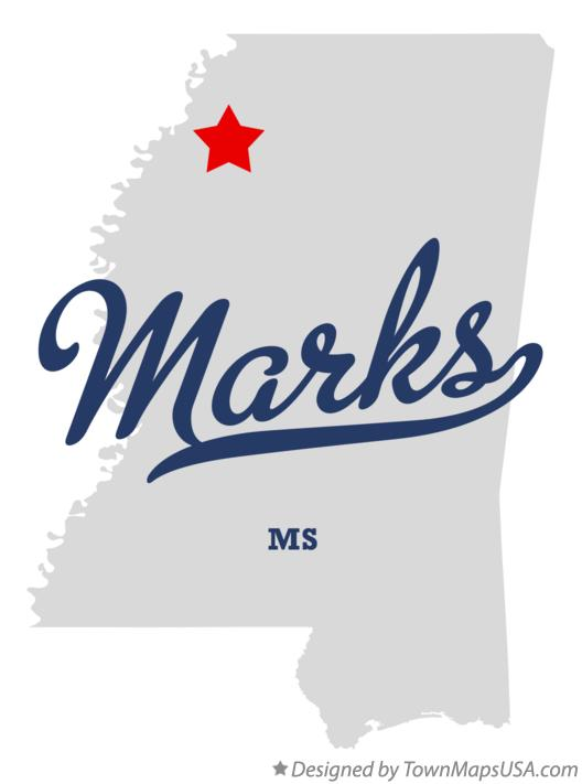 Map of Marks Mississippi MS