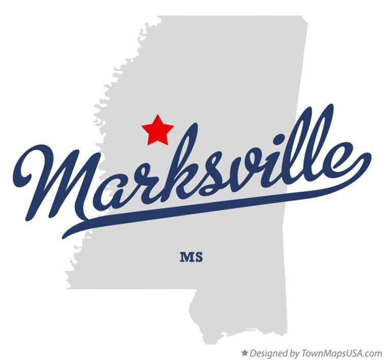 Map of Marksville Mississippi MS