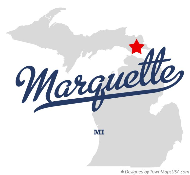 Map of Marquette Michigan MI