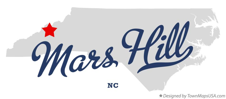 Map of Mars Hill North Carolina NC
