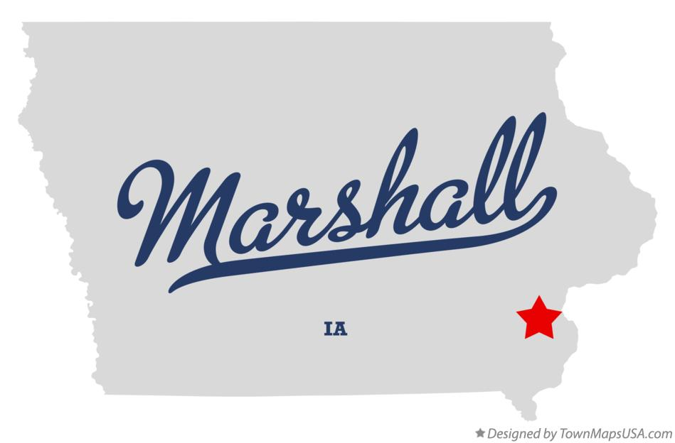 Map of Marshall Iowa IA
