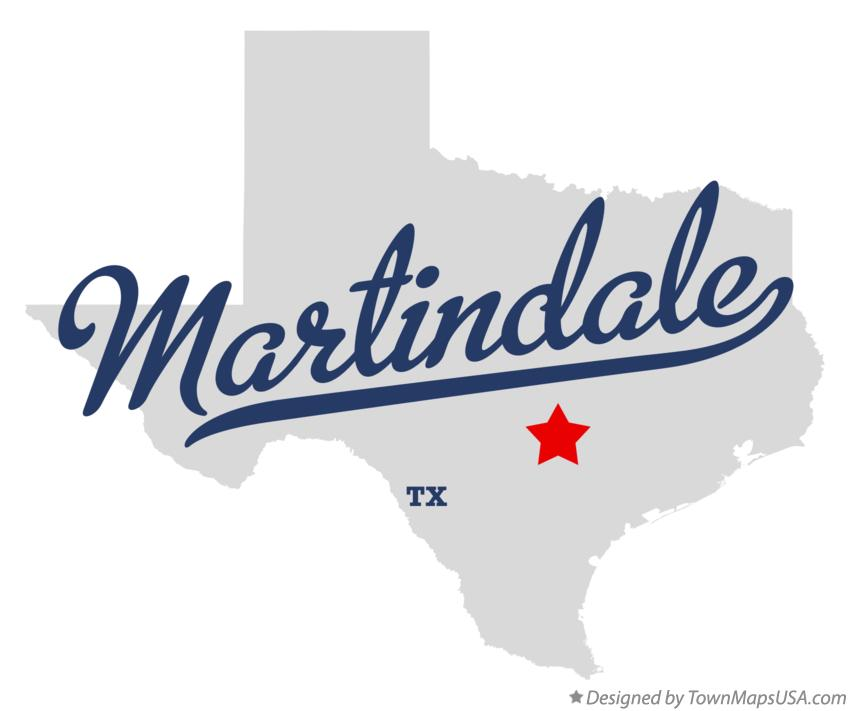 Map of Martindale Texas TX