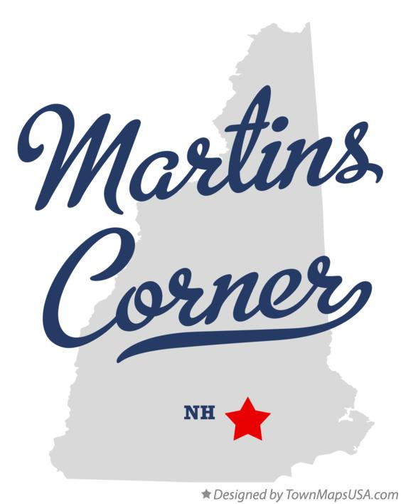 Map of Martins Corner New Hampshire NH