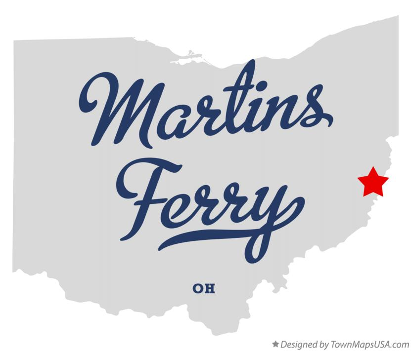 Map of Martins Ferry Ohio OH