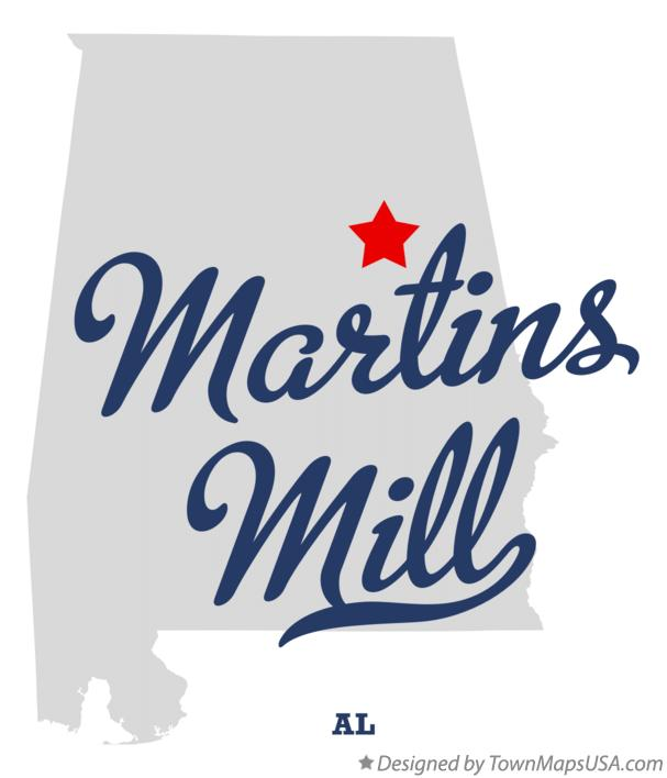 Map of Martins Mill Alabama AL
