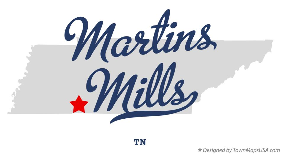 Map of Martins Mills Tennessee TN