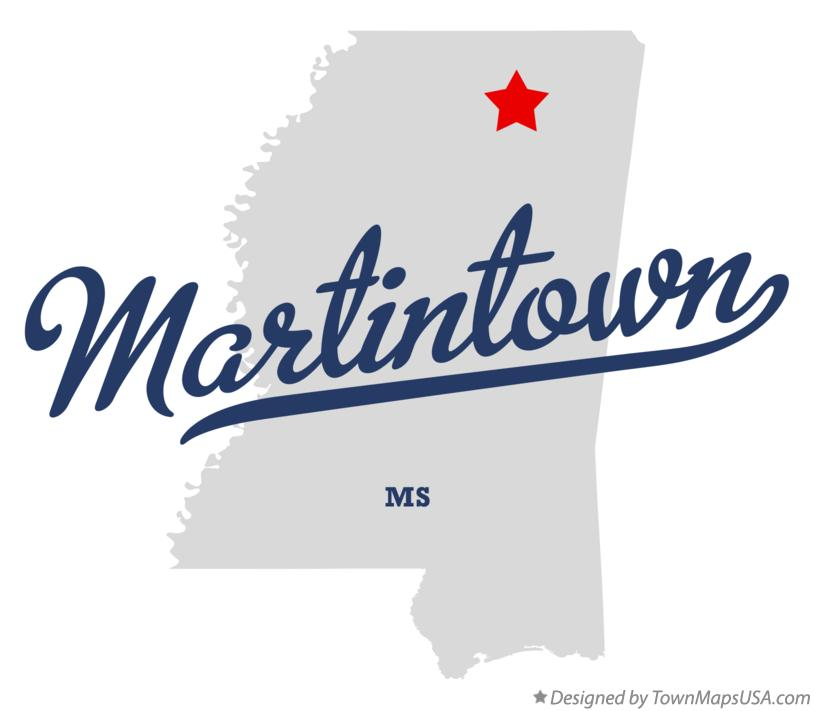 Map of Martintown Mississippi MS