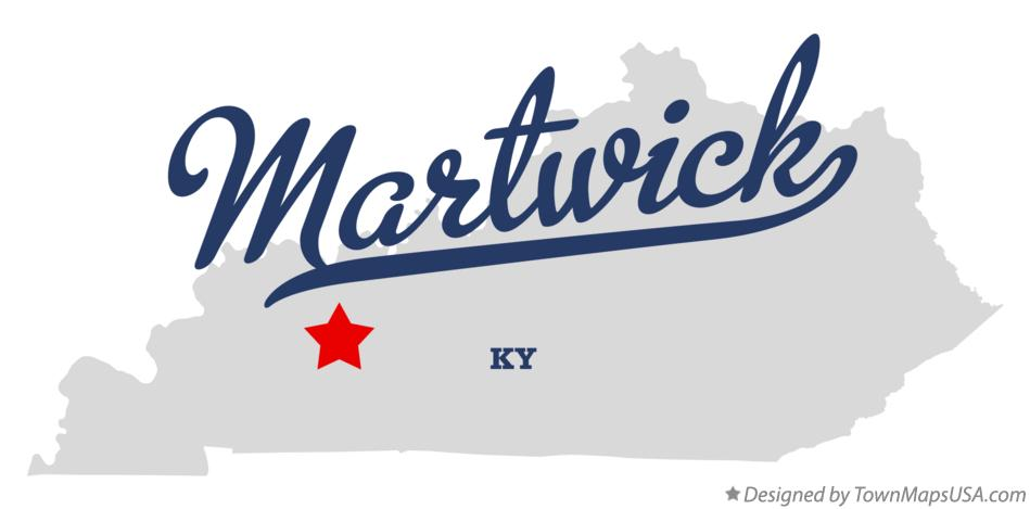 Map of Martwick Kentucky KY