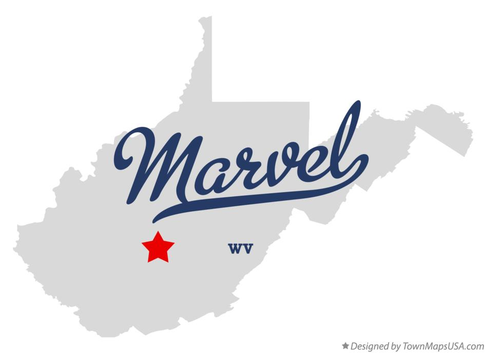 Map of Marvel West Virginia WV