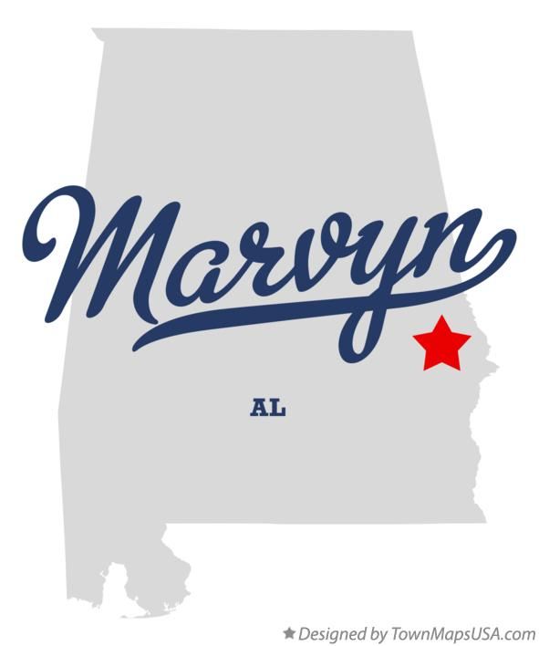 Map of Marvyn Alabama AL