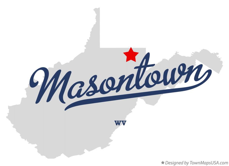 Map of Masontown West Virginia WV