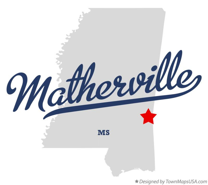 Map of Matherville Mississippi MS