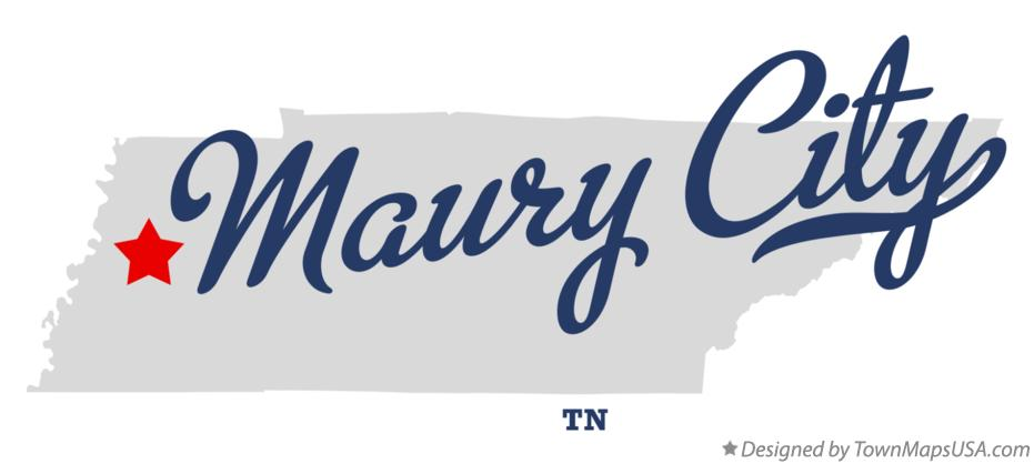 Map of Maury City Tennessee TN