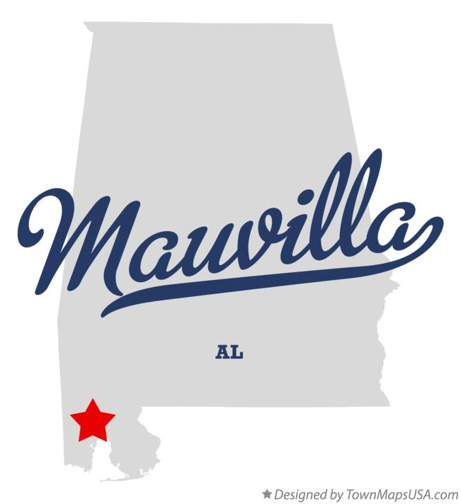 Map of Mauvilla Alabama AL