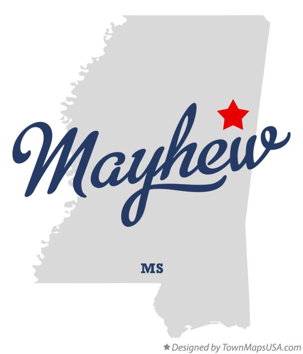 Map of Mayhew Mississippi MS