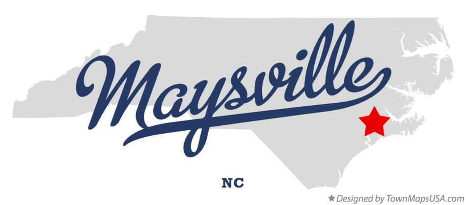 Map of Maysville North Carolina NC