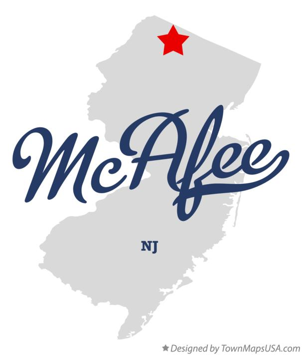 Map of McAfee New Jersey NJ