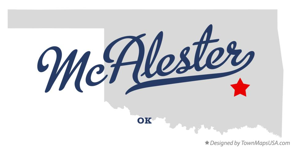 Map of McAlester Oklahoma OK