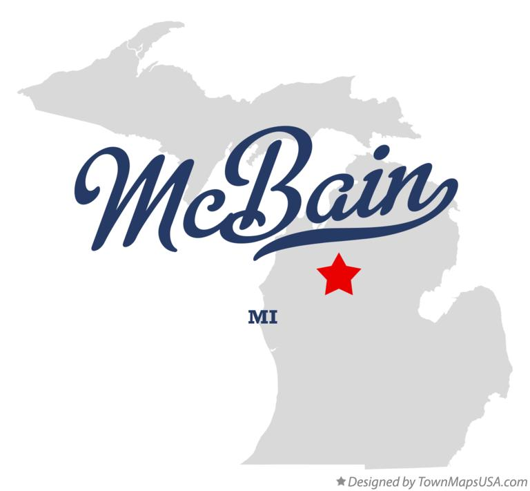 Map of McBain Michigan MI