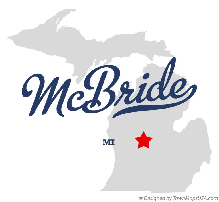 Map of McBride Michigan MI
