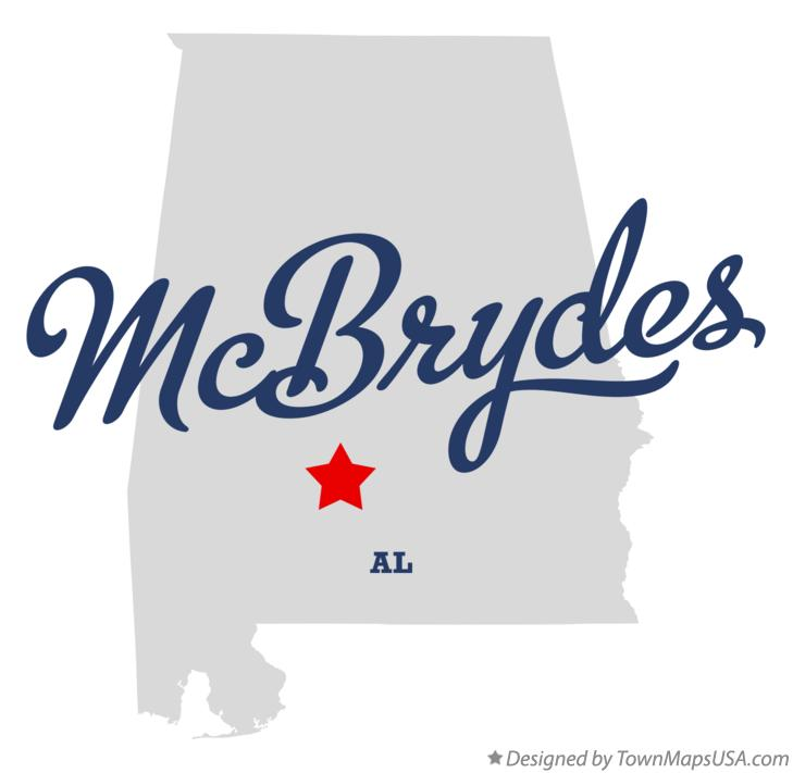 Map of McBrydes Alabama AL