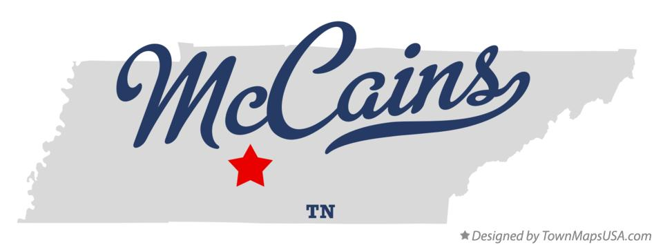 Map of McCains Tennessee TN
