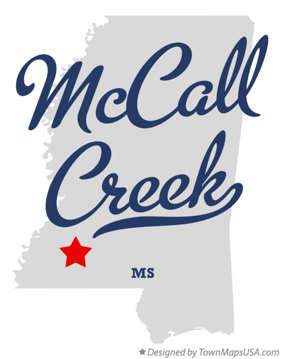 Map of McCall Creek Mississippi MS