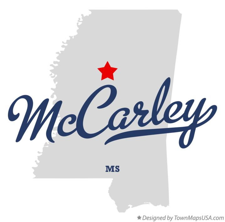 Map of McCarley Mississippi MS